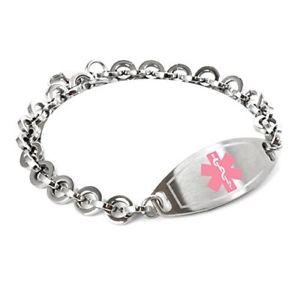 【送料無料】ブレスレット アクセサリ― カスタムブレスレットスチールラウンドリンクmyiddr custom engraved medical id bracelet 316l 8mm steel round link