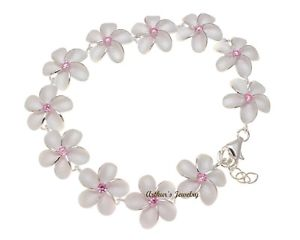 【送料無料】ブレスレット アクセサリ― シルバーハワイアンプルメリアフラワーリンクブレスレットピンクポンドsterling silver 925 hawaiian plumeria flower link bracelet pink cz 15mm 7