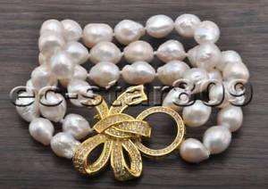 【送料無料】ブレスレット アクセサリ― エジソンパールブレスレットp6772 3row 8 12mm white almostround edison keshi pearl bracelet cz