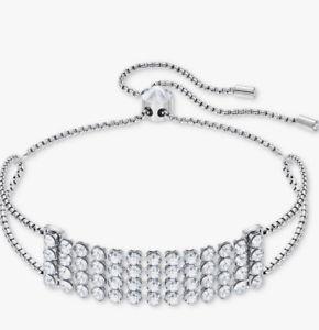 【送料無料】ブレスレット アクセサリ― スワロフスキークリスタルメッシュスライダドルswarovski crystal mesh silvertone slider barcelet 99