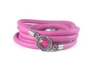 【送料無料】ブレスレット アクセサリ― ピンクレザーベゼルラップブレスレットpink leather wrap bracelet with bezel charm
