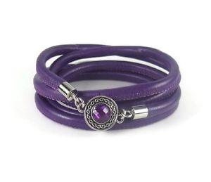 【送料無料】ブレスレット アクセサリ― ベゼルラップブレスレットpurple leather wrap bracelet with bezel charm