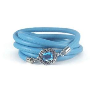 【送料無料】ブレスレット アクセサリ― ベゼルラップブレスレットblue leather wrap bracelet with bezel charm
