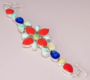 【送料無料】ブレスレット アクセサリ― ターコイズトルコタンザナイトジュエリースターリングシルバーブレスレットturquoise tanzanite quartz jewelry 925 sterling silver plated bracelet 50