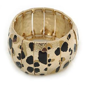【送料無料】ブレスレット アクセサリ― ゴールドトーンワイドプリントフレックスブレスレットgold tone wide hammered with leopard print flex bracelet 19cm l