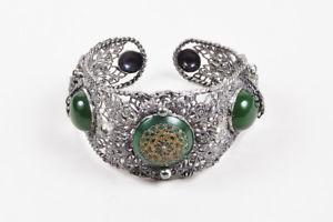 【送料無料】ブレスレット アクセサリ― ビンテージシルバーカボションカフブレスレットvintage silver tone green filigree cabochon embellished cuff bracelet