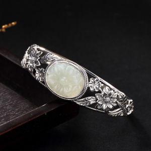 【送料無料】ブレスレット アクセサリ― ホワイトブレスレット925 sterling silver inlaid with hetian jade white jade lotus open bracelet