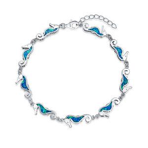 【送料無料】ブレスレット アクセサリ― blingジュエリー925オパールタツノオトシゴチャームブレスレットbling jewelry 925 silver synthetic blue opal seahorse charm bracelet