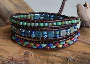 【送料無料】ブレスレット アクセサリ― マルチカラーレザーブレスレットブラウンレザーマルチカラーピカソビーズmulticolor leather 3xwrap bracelet brown leather multicolor picasso beads yevga