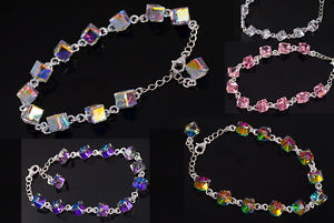【送料無料】ブレスレット アクセサリ― スワロフスキーキューブブレスレットシルバーwith swarovski cube 6mm bracelet silver 8 colours 8 colours