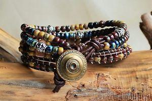 【送料無料】ブレスレット アクセサリ― ピカソローズレザーブレスレットビーズハンドメイドpicasso rose leather three 3xwrap bracelet beaded brown leather handmade yevga