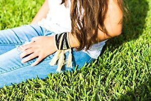 【送料無料】ブレスレット アクセサリ― ビーズパッチマクラメブレスレットmacrame bracelet with tassels and beaded patches