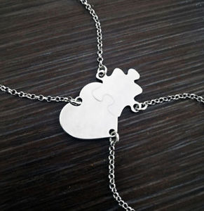 【送料無料】ブレスレット アクセサリ― シルバーブレスレットスプリットブレスレットハートパズルbracelet heart puzzle that splits better half silver 2 bracelets engraving