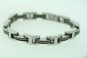 【送料無料】ブレスレット アクセサリ― ステンレススチールゴムリンクブレスレットldi stainless steel amp; rubber 95mm link bracelet