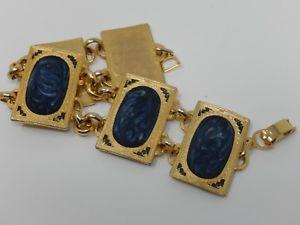 【送料無料】ブレスレット アクセサリ― エナメルブレスレット listinggold coloured metal bracelet with blue enamel rectangle