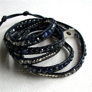 【送料無料】ブレスレット アクセサリ― チェコクリスタルビーズインセットネイビーレザーブレスレットnakamol 5 wrap up czech crystal, agate, metal beads inset navy leather bracelet