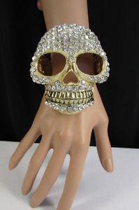 【送料無料】ブレスレット アクセサリ― メタルビッグスカルカフブレスレットファッションジュエリーシルバーハロウィーンwomen gold metal big skull cuff bracelet fashion jewelry silver bling halloween