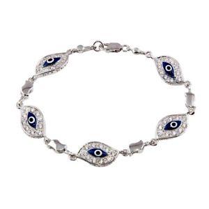 【送料無料】ブレスレット アクセサリ― スターリングシルバーテニスブレスレットsterling silver evil eye cz stones tennis bracelet