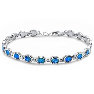 【送料無料】ブレスレット アクセサリ― オパールスターリングシルバーブレスレットoval blue fire opal 925 sterling silver bracelet