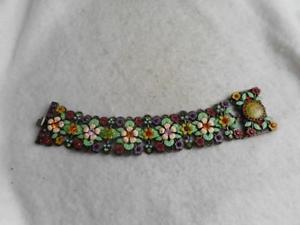 【送料無料】ブレスレット アクセサリ― ブランドエナメルブレスレットクラスプsigned mx brand enameled flowers amp; crystal bracelet w cherub litho clasp
