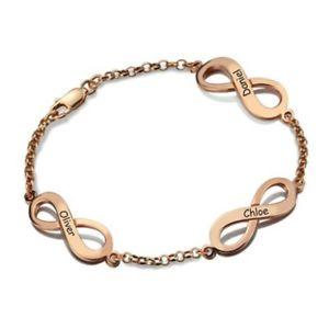 【送料無料】ブレスレット アクセサリ― ブレスレットゴールデンパーソナライズpersonalized bracelet infinity 3 golden nameslamp;d