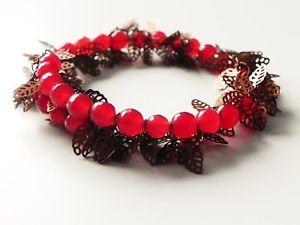 【送料無料】ブレスレット アクセサリ― ワイヤーラップブレスレットred chalcedony and copper filigree leaves memory wire gemstone wrap bracelet