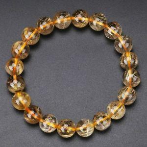 【送料無料】ブレスレット アクセサリ― ゴールドチタンルチルクリスタルビーズブレスレット102mm natural gold titanium rutilated quartz crystal beads bracelet gra010