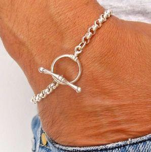【送料無料】ブレスレット アクセサリ― 925スターリングリンクチェーントグル925 sterling silver link chain bracelet toggle clasp chunky round men women