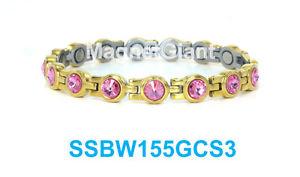 【送料無料】ブレスレット アクセサリ― ピンクテニスステンレススチールリンクブレスレットゴールドpink crystals women tennis magnetic 316l stainless steel link gold bracelet