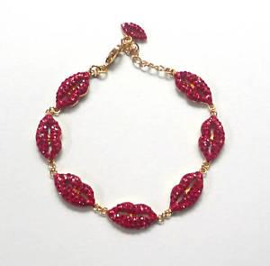 【送料無料】ブレスレット アクセサリ― バトラーウィルソンクリスタルエナメルリップブレスレットbutler and wilson crystal enamel lip bracelet