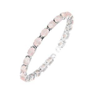 【送料無料】ブレスレット アクセサリ― スターリングシルバーローズクォーツオーバルカットブレスレット925 sterling silver natural rose quartz oval cut bracelet 75 inchs jewelry
