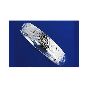 【送料無料】ブレスレット アクセサリ― シルバーハワイアンブレスレットメタルプルメリアスムーズスクロールエッジsilver 925 hawaiian bracelet rigid plumeria scroll smooth edges 8mm