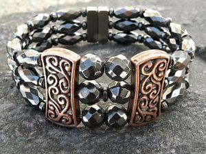 【送料無料】ブレスレット アクセサリ― チベットブレスレット3womens powerful magnetic hematite tibetan copper bracelet 3 row magnetic clasp