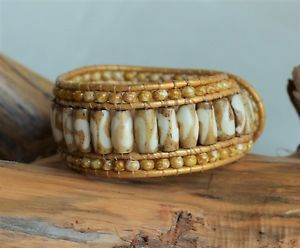 【送料無料】ブレスレット アクセサリ― ビーズカフブレスレットビーズロングハンドメイドyellow beaded leather cuff bracelet beads on leather 725 long handmade yevga