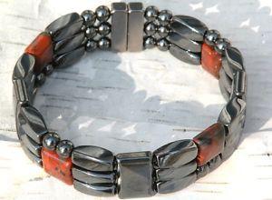 【送料無料】ブレスレット アクセサリ― メンズウィメンズヘマタイトブレスレットポピージャスパーmens womens magnetic hematite bracelet poppy jasper strong three rows powerful