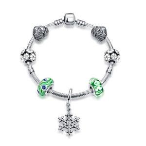 【送料無料】ブレスレット アクセサリ― スターリングシルバーブレスレットハートグリーンジルコンガラススノーフレークペンダント925 sterling silver bracelet heart green zircon glass snowflake pendant cg