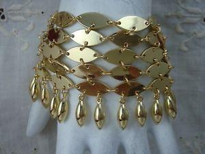 【送料無料】ブレスレット アクセサリ― hsn chain mail pl by padma lakshmi6row dangle gold tone wide bracelethsn chain mail pl by padma lakshmi 6 row dangle gold