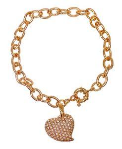 【送料無料】ブレスレット アクセサリ― スワロフスキーエレメントクリスタルハートチャームブレスレットswarovski elements crystal pave heart charm bracelet gold plated authentic 7119y