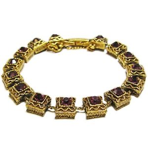【送料無料】ブレスレット アクセサリ― ビンテージガラスブレスレットvintage goldette purple glass stone bracelet