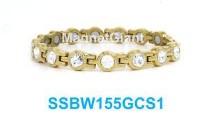 【送料無料】ブレスレット アクセサリ― テニスクリアステンレススチールリンクブレスレットゴールドclear crystals women tennis magnetic 316l stainless steel link gold bracelet