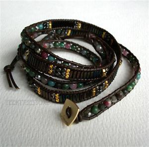 【送料無料】ブレスレット アクセサリ― ビーズインセットブレスレットnakamol 5 wrap up mixed crystal, agate, metal beads inset leather boho bracelet