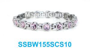 【送料無料】ブレスレット アクセサリ― アメジストテニスステンレススチールリンクシルバーブレスレットamethyst crystals women tennis magnetic316l stainless steel link silver bracelet