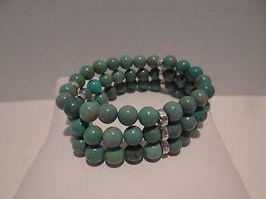 【送料無料】ブレスレット アクセサリ― ストランドグリーンターコイズストレッチブレスレットartisan crafted 3strand green turquoise stretch bracelet