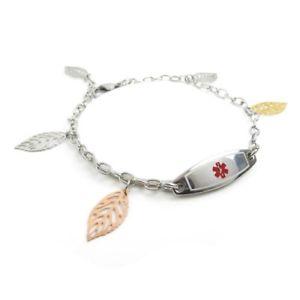 【送料無料】ブレスレット アクセサリ― myiddridブレスレットクルミmyiddr ladies medical id bracelet with engraving, steel walnut, extra small