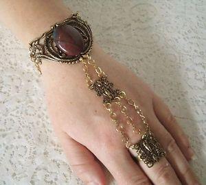 【送料無料】ブレスレット アクセサリ― スレーブブレスレットビクトリアルネサンスアールヌーボーホテルbloodstone hand chain slave bracelet, victorian medieval renaissance art nouveau