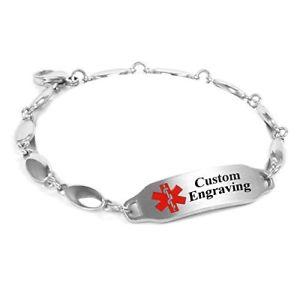 【送料無料】ブレスレット アクセサリ― myiddrブレスレット316ポンド4mmmyiddr custom engraved medical bracelet 316l steel drop 4mm