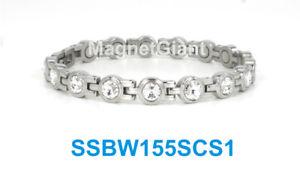 【送料無料】ブレスレット アクセサリ― シルバークリアテニスステンレススチールリンクブレスレットsilver clear crystals women tennis magnetic stainless steel link bracelet