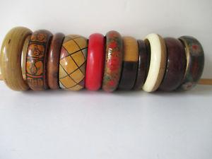 【送料無料】ブレスレット アクセサリ― ヴィンテージブレスレットロットvintage wooden chunky bracelets mixed lot of 11