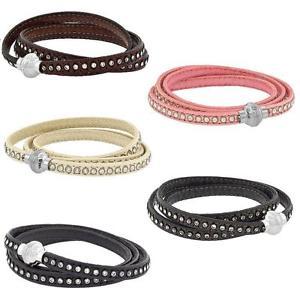 【送料無料】ブレスレット アクセサリ― ラップブレスレットステンレスクラスプleather 3wrap bracelet w crystals amp; stainless steel magnetic clasp