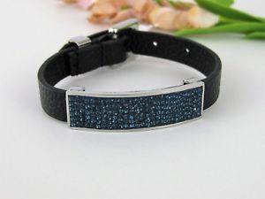 【送料無料】ブレスレット アクセサリ― ニューqvcステンレスブレスレット qvc stainless steel adjustable pave crystal station leather bracelet